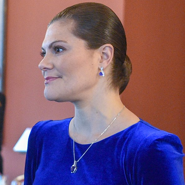 Crown Princess Victoria wore IDA-SJOSTEDT double breasted coat and velvet blue dress