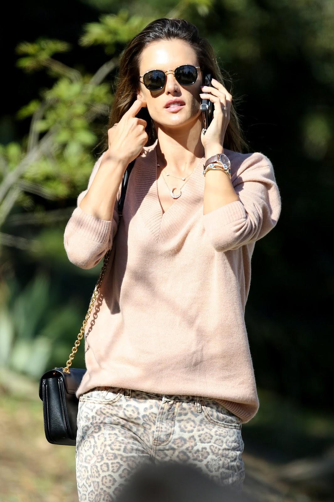 Alessandra Ambrosio talking on the phone in LA - 02/07/2019