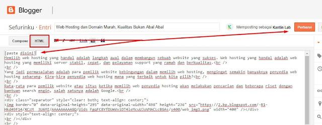Memasang kode pada postingan