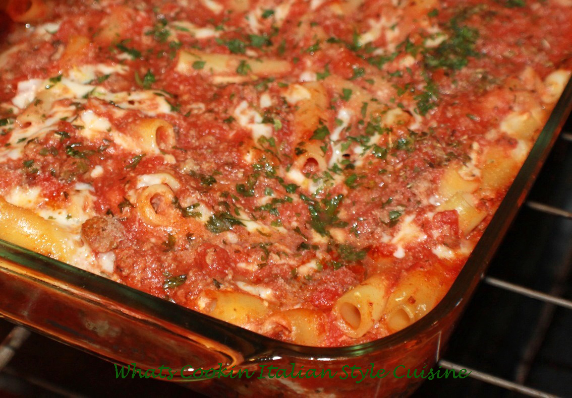 this is a pasta called baked ziti in a casserole pan and how to make this classic Italian baked pasta meal
