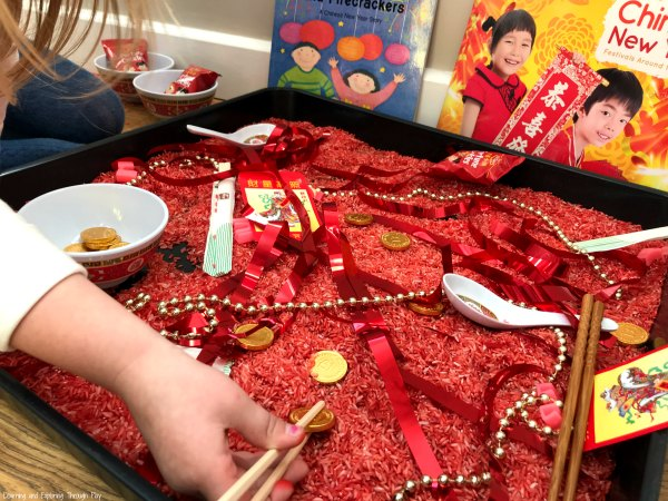 Chinese New Year Sensory Play #chinesenewyear #CNYsensoryplay #sensoryplay #preschool #earlyyears #learningthroughplay