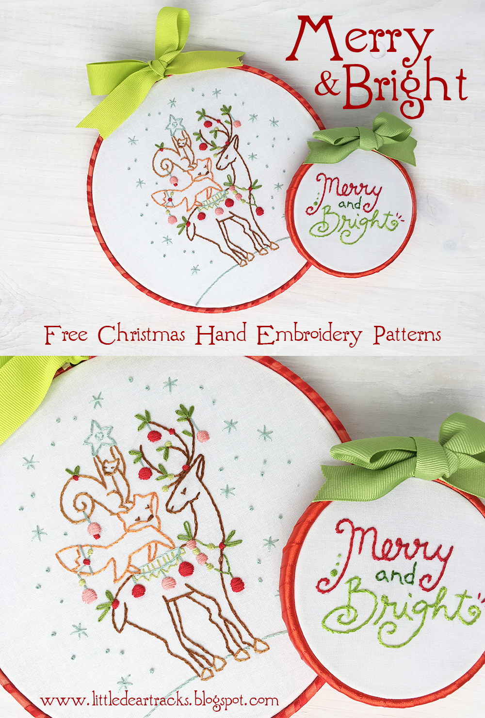 Christmas Embroidery Patterns Free.Little Dear Tracks Free Christmas Embroidery Patterns