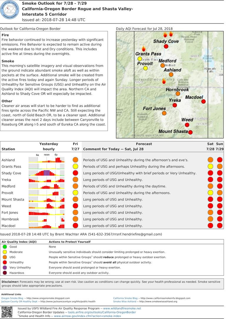 saturday and sunday smoke outlook for rogue and shasta valleys i 5 corridor