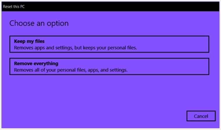 Reset Windows 10 Remove Everything Option