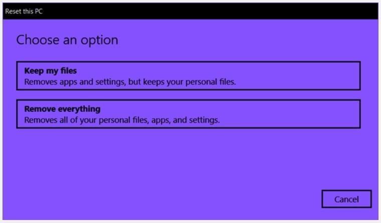 Reset Windows 10 Remove Everything Option