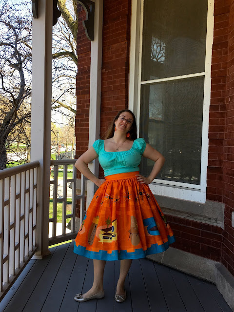 oblong box shop orange skirt
