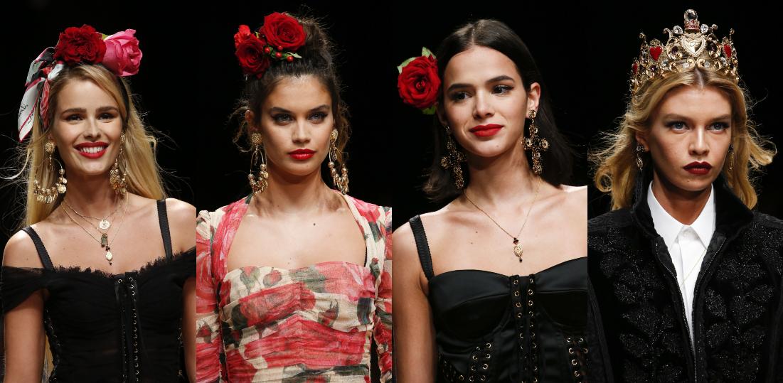31238a04b Aconteceu nessa manhã de domingo (23), o desfile da Dolce Gabbana Primavera  Verão Ready-To-Wear 2019. Assim como em outros desfiles, a marca seleciona  ...