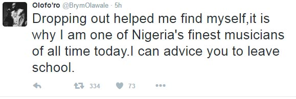 Brymo's reply to Twitter user who begged for school fees will leave you in stitches