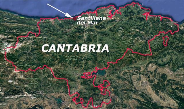 Santillana del Mar, situación en Cantabria