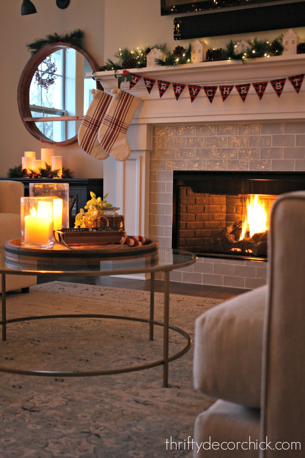 white fireplace with light gray tile A
