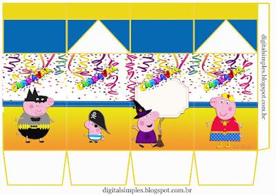 """Caja tipo """"de leche"""" de Peppa Pig en Carnaval."""