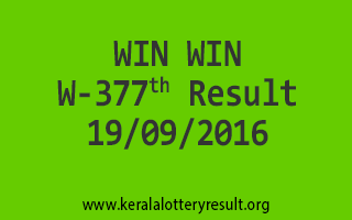 WIN WIN W 377 Lottery Results 19-9-2016