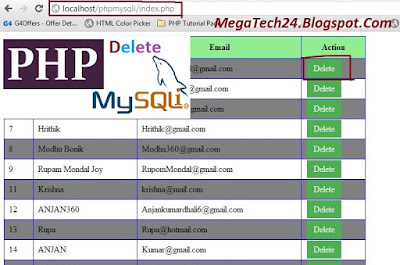PHP MySQLi Delete Records From database with Button