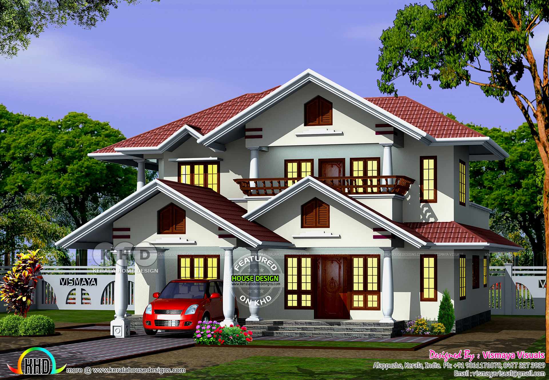 Typical kerala model 4 bedroom attached house kerala for Typical house design
