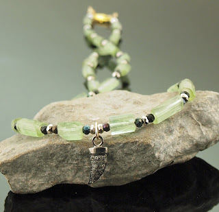 Stone Choker Green Tourmaline Natural Gemstone Rare Crystalline Columns Unique Unisex Necklace Sterling Silver Tusk Horn w/White Topaz Pave Black Spinel October Birthday