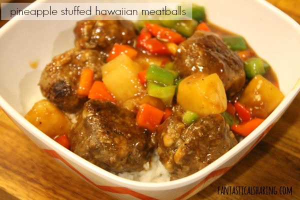 Pineapple Stuffed Hawaiian Meatballs #recipe #maindish #beef #sweetandsour #meatballs #pineapple