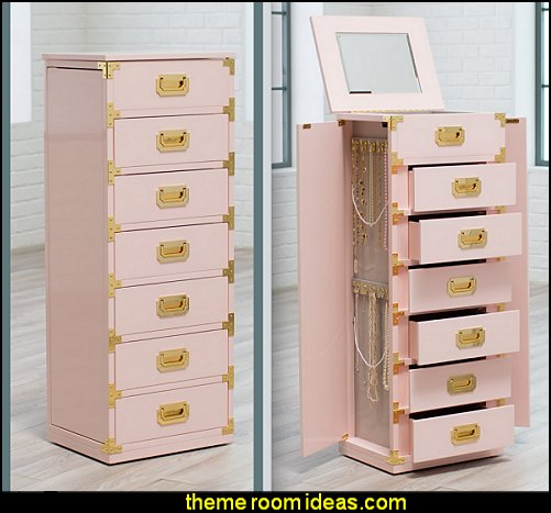Trunk Jewelry Armoire - High Gloss Blush