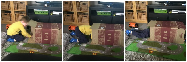 Our-weekly-journal-7-august-2017-trains-and-bikes-toddler-climbing-into-cardboard-box