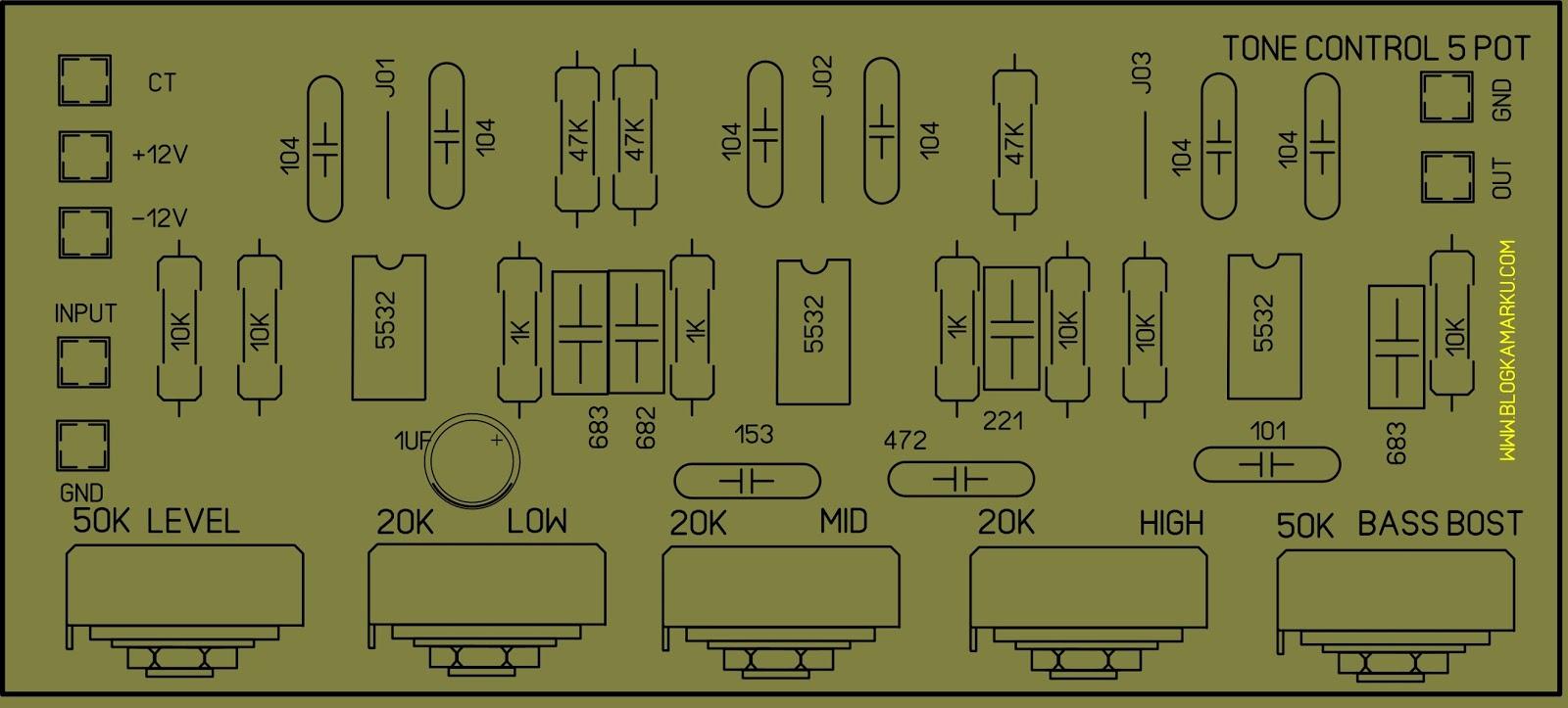 Pcb Layout Namec Tone Control Mono Modifikasi Dan Assesoris Tonecontrol 5 Potensio Dengan Bass Bost