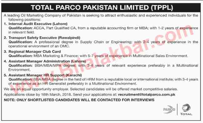 Career Opportunities in Total Parco Pakistan Limited (TPPL)