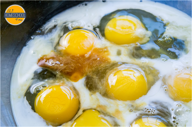 whisk together eggs, milk, and maple syrup