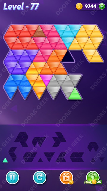 Block! Triangle Puzzle Champion Level 77 Solution, Cheats, Walkthrough for Android, iPhone, iPad and iPod