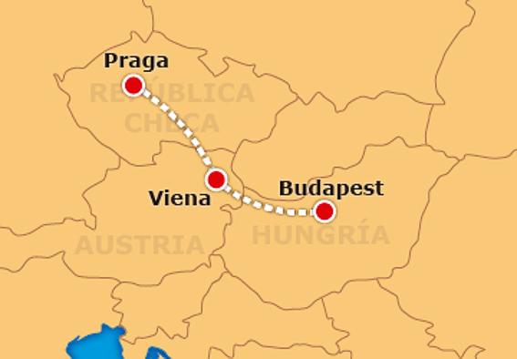 Mapa del recorrido de Praga, Viena y Budapest