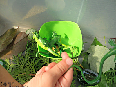 Sorting green creatures in a green sensory bin from And Next Comes L