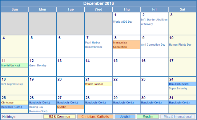 December 2016 Printable Blank Calendar Templates