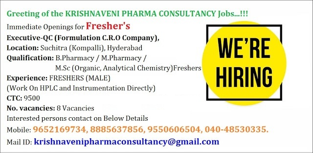Pharmajobs: Fresher Vacancy B pharm/M pharm Openings in QC