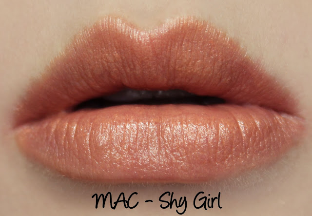MAC Shy Girl lipstick swatches & review