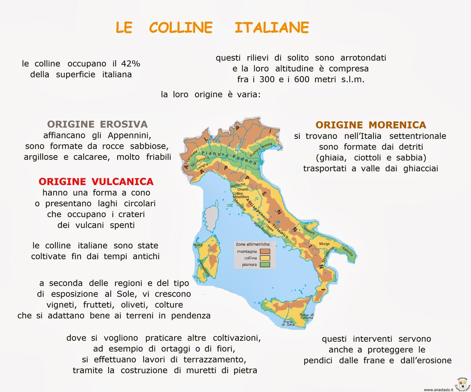 Cartina Fisica Italia Colline.Paradiso Delle Mappe Le Colline Italiane