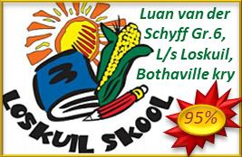 Luan van der Schyff Gr.6, L/s Loskuil Bothaville kry 95% met die aanbieding van sy Raakpraat-toespraak!