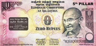 индийская банкнота номиналом 0 рупий