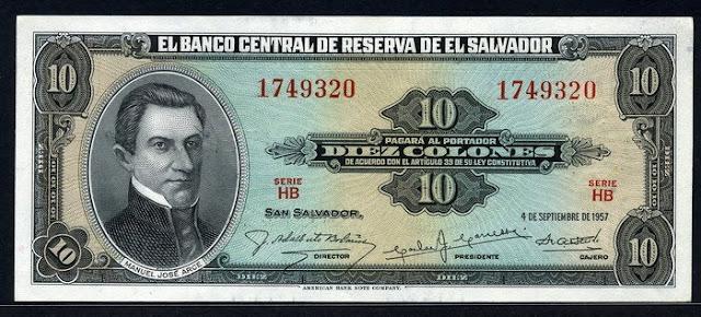 El Salvador currency 10 Colones