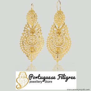 Crown princess Mary jewellry Portuguese Queen gold filigree earrings
