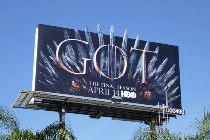 Game of Thrones final season dragon cutout billboard