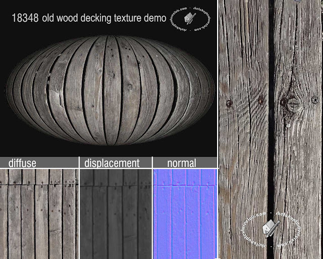 Old wood decking texture tiled and maps