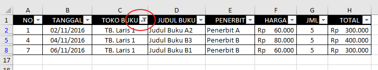 Autofilter Data Pada Excel 4