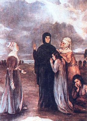 Η αγία Φιλοθέη με γυναίκες  που κοντά της εύρισκαν παρηγοριά.  Πίνακας του Έκτωρος Δούκα (1885-1969),  στον Ιερό Ναό της Αγίας Φιλοθέης, στην Φιλοθέη.