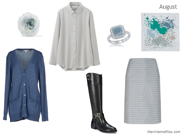 cardigan, blouse and skirt outfit in steel blue and grey