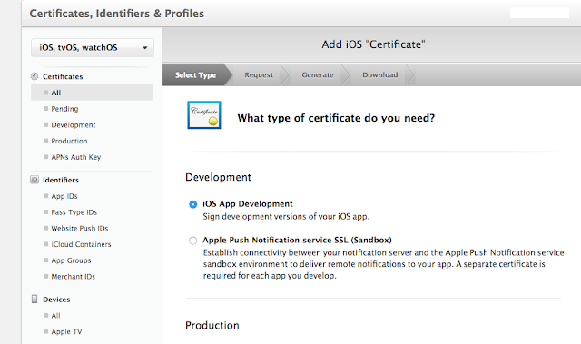 Select development certifiacte by clicking radio button next to it