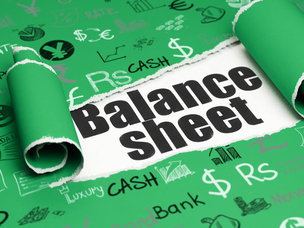 Balance sheet written on paper