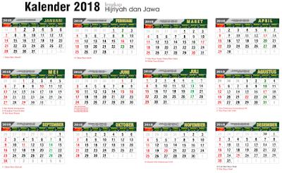 Kalender 2018 Lengkap Nasional, Hijriyah dan Jawa CDR File Vektor
