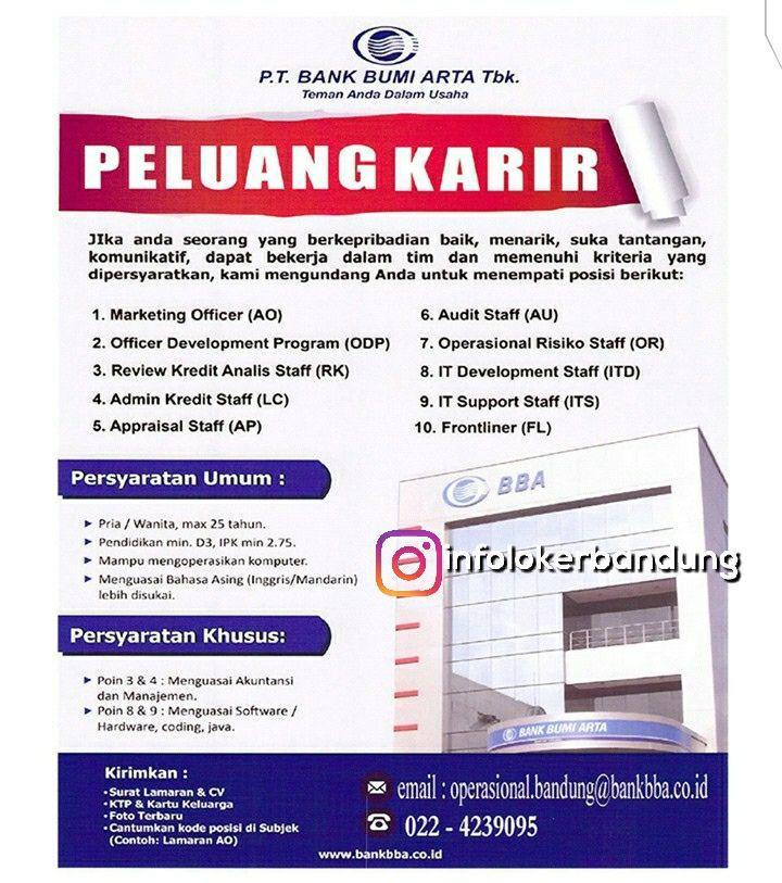Lowongan Kerja Bank Bumi Arta Tbk Bandung September 2017