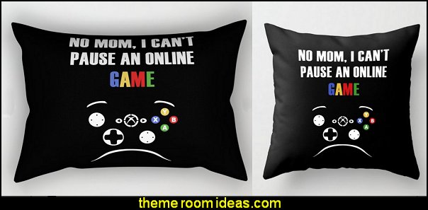 No mom, I can't pasue an online game Throw Pillow  Gamer bedroom - Video game room decor - gamer bedroom furniture - gamer wall decal stickers - Super Mario Brothers Wall Stickers - gamer bedding - Super Mario Brothers bedding - Pacman decor -  Retro Arcade bedrooms - 80s video gamers - gamer throw pllows - minecraft bedroom ideas - minecraft bedroom decor