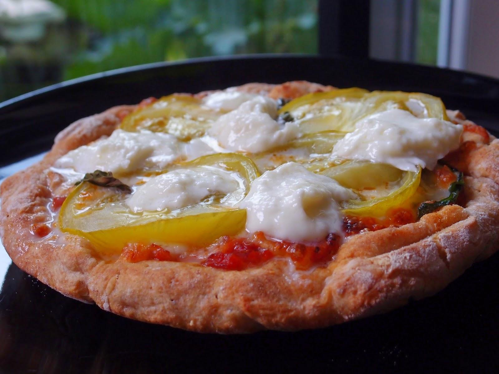 The VegHog: Fried heirloom tomato pizza