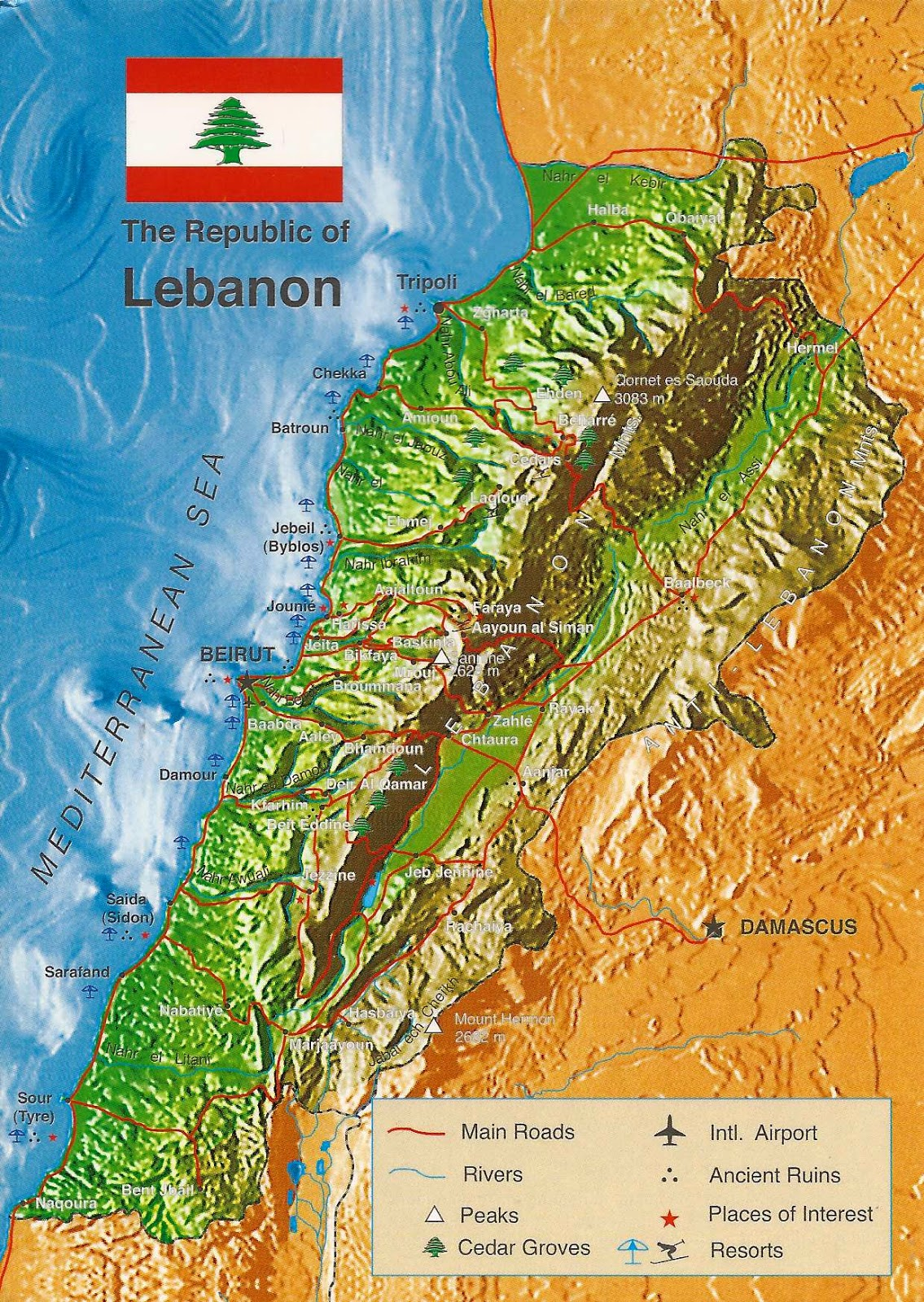 A Journey of Postcards A map of Lebanon