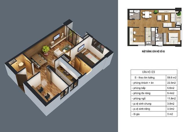 Thiết kế căn hộ 03 dt 59m2 với 01 phòng ngủ