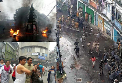 Gorkhaland supporter clash with Police in Kalimpong